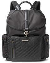 Ermenegildo Zegna Shell And Pelle Tesutta Leather Backpack - Black