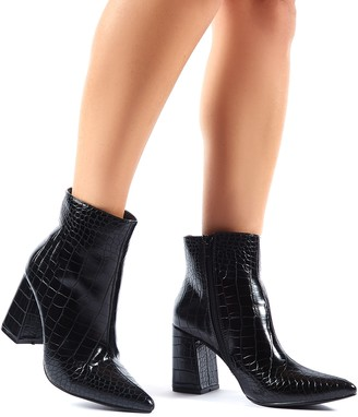 Public Desire Empire Pointed Toe Ankle Boots Croc