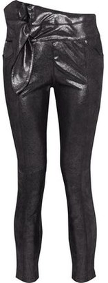 IRO Alpen Knotted Coated Metallic Leather Skinny Pants