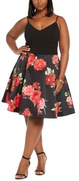 B. Darlin Trendy Plus Size Floral Mesh Dress