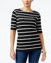 Karen Scott Striped Boat-Neck Top, Only at Macy's