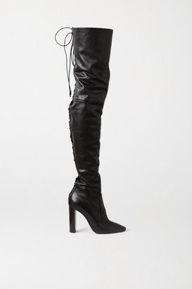 Saint Laurent Moon Lace-up Leather Over-the-knee Boots - Black