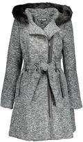 Steve Madden Gray Melange & Black Faux Fur Hooded Trench Coat