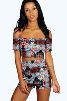 Boohoo Tiffany Short Sleeve Scuba Print Bardot Top