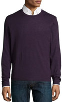 Neiman Marcus Superfine Cashmere Crewneck Sweater, Dark Purple