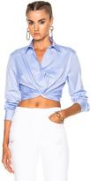 Alexander Wang Cotton Twill Twist Front Long Sleeve Shirt in Blue.