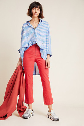 Anthropologie The Essential Corduroy Cropped Flare Trousers By Essentials by in Blue Size 0