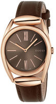 Gucci Horsebit Rose Goldtone Brown Leather Strap Watch, YA140408