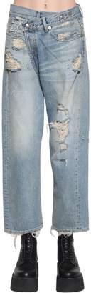 R 13 Cross Over Distressed Cotton Denim Jeans
