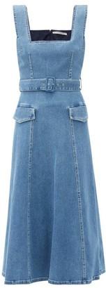 Emilia Wickstead Petra Square-neck Belted Denim Dress - Denim