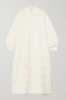 MINJUKIM Ruffled Poplin Midi Shirt Dress - Ivory