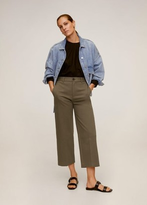 MANGO Relaxed fit cropped trousers light/pastel grey - XS - Women