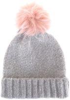 Mint Velvet Silver Grey Brushed Texture Pompom Hat