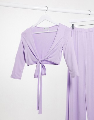 ASOS DESIGN mix & match cropped wrap jersey pyjama top in lilac