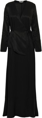 Dagmar House Of Layered Satin-twill Maxi Wrap Dress