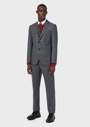 Emporio Armani Slim-Fit, Single-Breasted Suit In Check Flannel