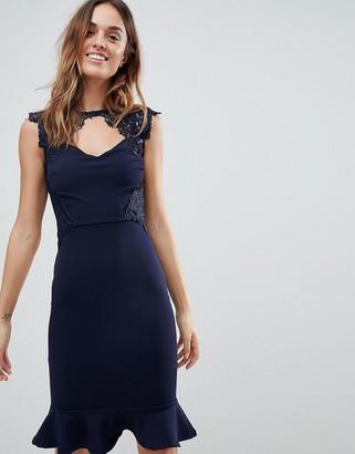 Lipsy Lace Detail Midi Dress with Pephem-Navy