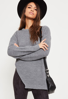 Missguided Grey Side Split Crew Neck Sweater
