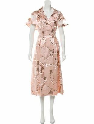 Lela Rose Metallic Midi Dress w/ Tags gold