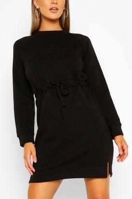 boohoo Honey Embroidered Sweater Dress