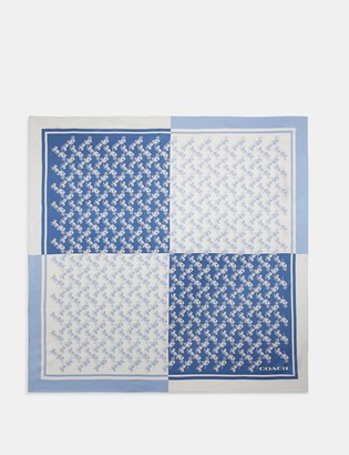 Coach Diagonal Horse And Carriage Checker Print Silk Square Scarf