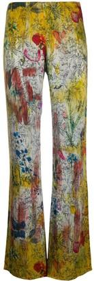 Avant Toi Floral-Print Velvet Trousers