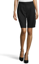 Halston Pleated Wool-Knit Bermuda Shorts, Black