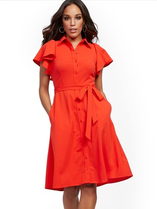New York & Co. Petite Red Ruffle-Sleeve Shirtdress - Magic Crepe