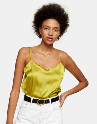 Topshop scallop edge satin cami top in olive