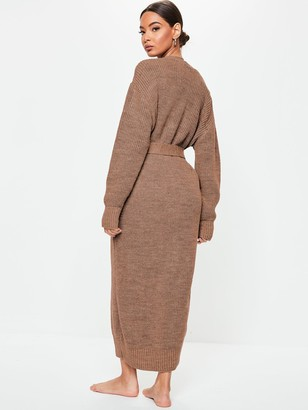 Missguided Belted Maxi Cardigan - Mocha