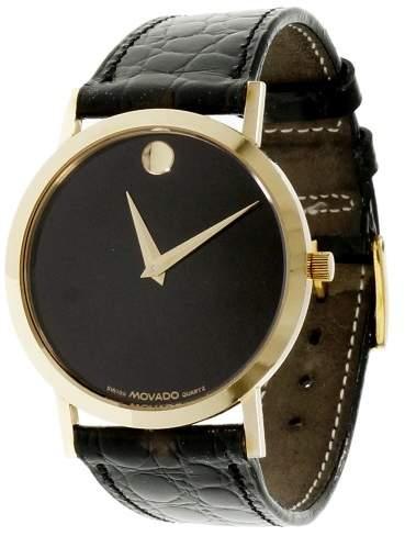 Movado Museum 14K Yellow Gold & Leather Quartz 32mm Men's Watch