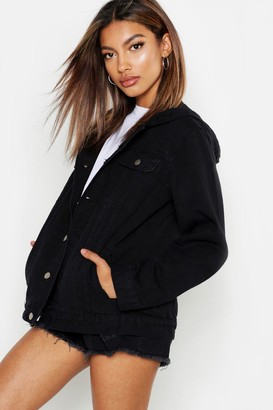 boohoo Oversized Hooded Denim Jacket