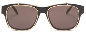 Alexander McQueen Clip-on Lens D-frame Metal And Acetate Sunglasses - Black