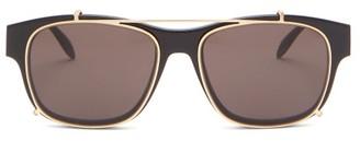 Alexander McQueen Clip-on Lens D-frame Metal And Acetate Sunglasses - Mens - Black
