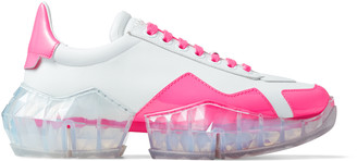 Jimmy Choo YK-DIAMOND/F White Leather Low Top Trainers with Neon-Pink Trim