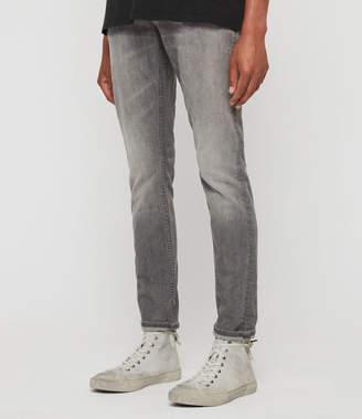 AllSaints Rex Damaged Slim Jeans, Grey