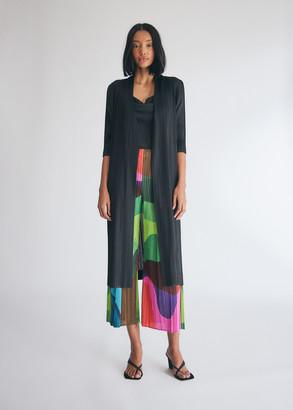 Pleats Please Issey Miyake Women's Long Cardigan Sweater in Black, Size 1