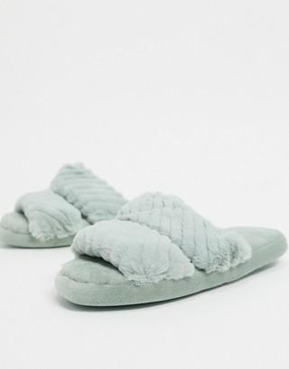 ASOS DESIGN Zhuji double strap slider slippers in sage green