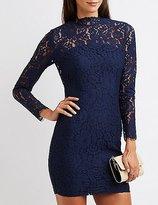 Charlotte Russe Lace Mock Neck Bodycon Dress