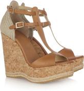 Jimmy Choo Preya leather and raffia wedge sandals