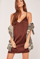 Missguided Silky Cami Dress Brown