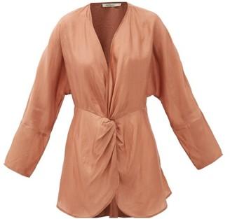 Mes Demoiselles Twilight Gathered Silk-satin Blouse - Womens - Brown