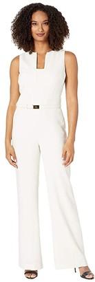 Lauren Ralph Lauren Belted Crepe Jumpsuit (Mascarpone Cream) Women's Jumpsuit & Rompers One Piece