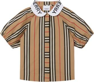 Burberry Cecily Logo Collar Stripe Blouse