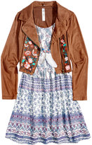 Beautees 2-Pc. Embroidered Jacket and Dress Set With Coordinating Necklace, Big Girls (7-16)