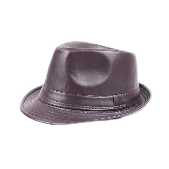 24e0d2757 U2BUY PU Leather Fedora Hat Men Women Classic Short Brim Jazz Hats