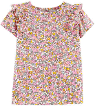 Osh Kosh Oshkosh Round Neck Short Sleeve Blouse Toddler Girls