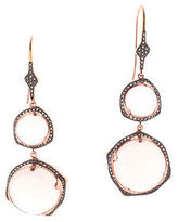 Rarities Rose Quartz Rose Gold Vermeil Smoky Quartz Drop Earrings $1300 New
