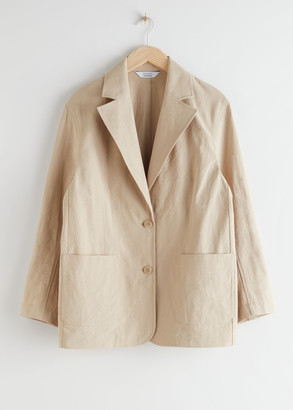And other stories Linen Blend Oversized Blazer