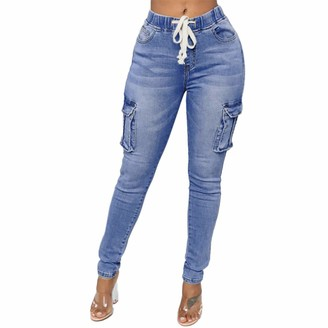 ITISME Jeans Women Fashion Daily Hight Waisted Denim Jean Stretch Slim Pants Length Pants Trousers Blue